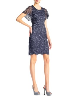 Adrianna Papell Beaded Flutter-Sleeve Cocktail Dress