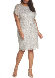 Adrianna Papell Beaded Flutter Sleeve Sheath Dress (Plus Size)