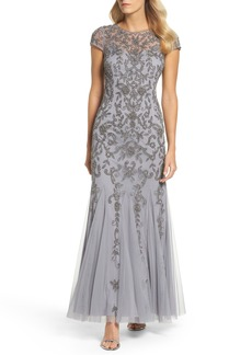 Adrianna Papell Beaded Godet Trumpet Gown (Regular & Petite)