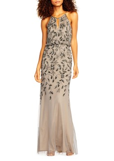 Adrianna Papell Beaded Halter Neck Mermaid Gown
