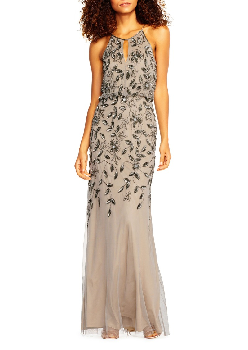 Adrianna Papell Adrianna Papell Beaded Halter Neck Mermaid Gown ...