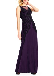 Adrianna Papell Beaded Illusion Sheath Gown