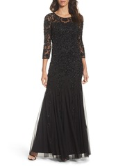 Adrianna Papell Beaded Illusion Yoke Mesh Gown
