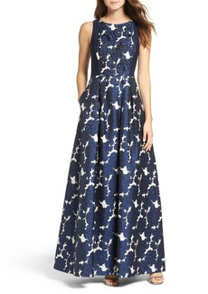 Adrianna Papell Embellished Jacquard & Jersey Ballgown