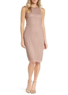 Adrianna Papell Beaded Lace-Up Dress