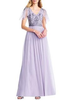 Adrianna Papell Beaded Long Chiffon Dress