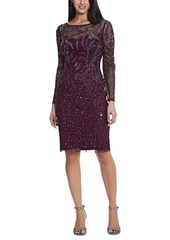 Adrianna Papell Beaded Long-Sleeve Dress