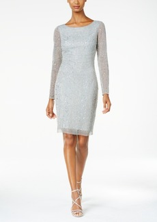 Adrianna Papell Beaded Long-Sleeve Sheath Dress