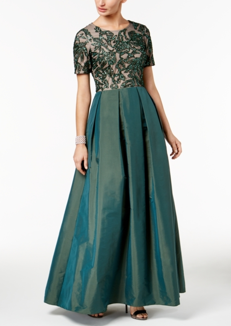 Adrianna Papell Adrianna Papell Beaded Mesh & Taffeta Gown | Dresses