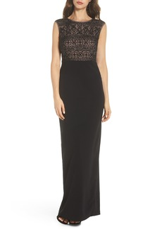 Adrianna Papell Beaded Mesh Bodice Gown