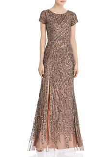 Adrianna Papell Beaded Mesh Floor-Length Dress