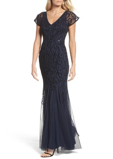 Adrianna Papell Beaded Mesh Godet Gown