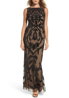 Adrianna Papell Beaded Mesh Gown