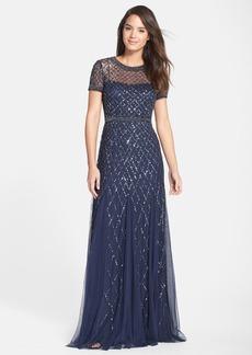Adrianna Papell Beaded Mesh Gown (Regular & Petite)