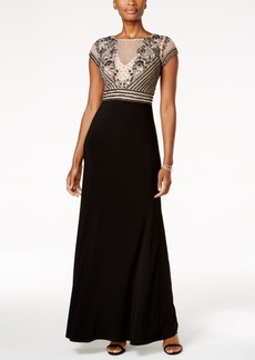 Adrianna Papell Beaded Mesh Jersey Gown