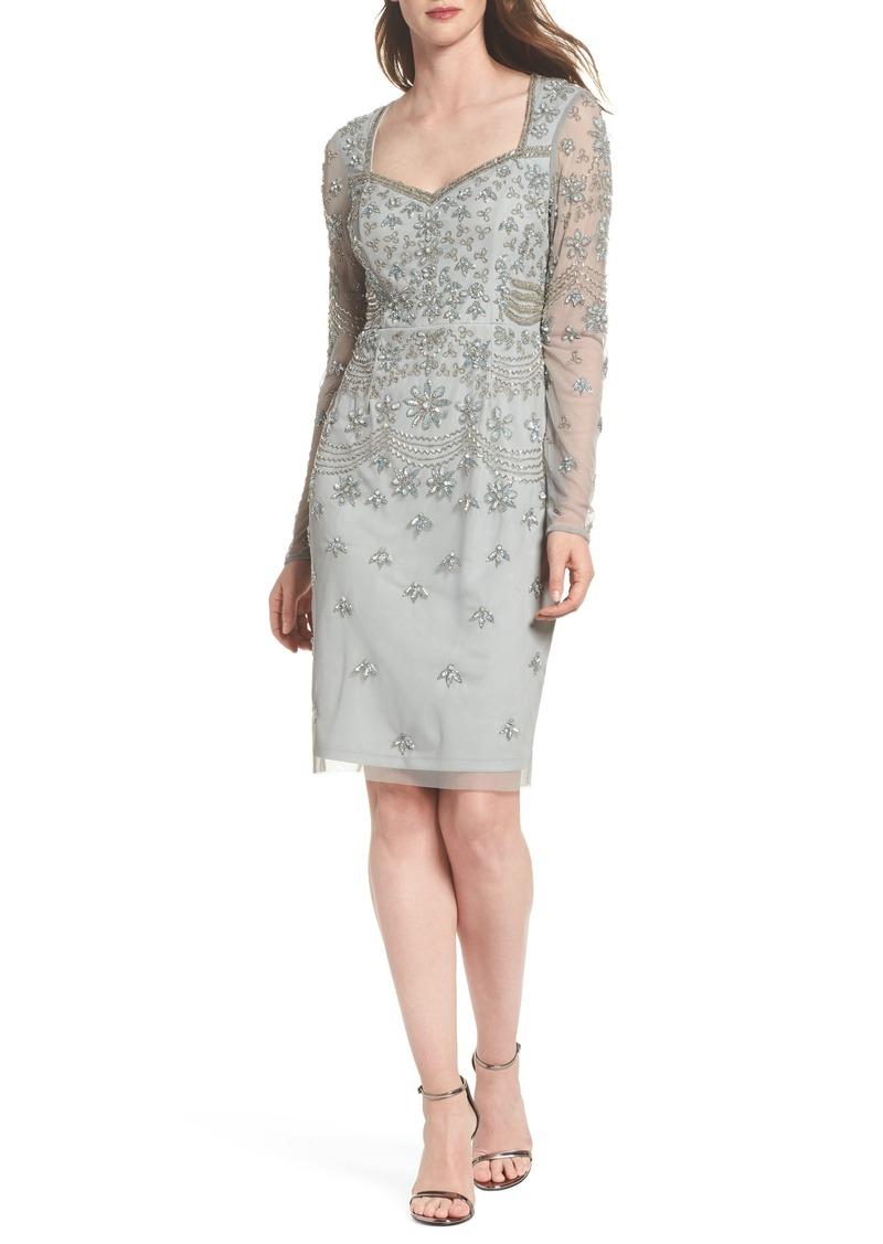 Beaded Mesh Sheath Dress