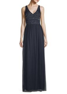 Beaded Mesh Sleeveless Gown