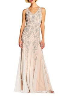 Adrianna Papell Beaded-Mesh V-Neck Evening Gown