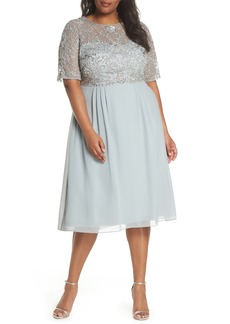Adrianna Papell Beaded Midi Dress (Plus Size)