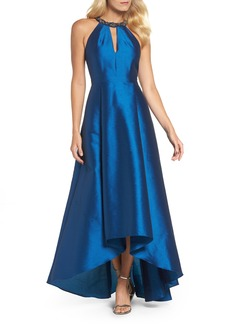 Adrianna Papell Beaded Neck Faille Gown
