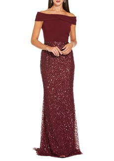 Adrianna Papell Beaded Off-The-Shoulder Gown
