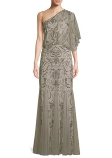 Adrianna Papell Beaded One-Shoulder Blouson Gown