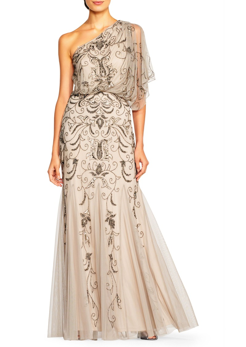 Adrianna Papell Adrianna Papell Beaded One-Shoulder Blouson Gown ...