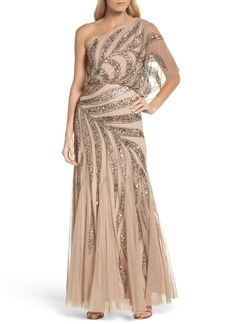 Adrianna Papell Beaded One-Shoulder Blouson Mesh Gown