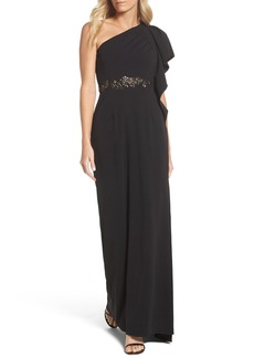 Adrianna Papell Beaded One-Shoulder Crepe Gown