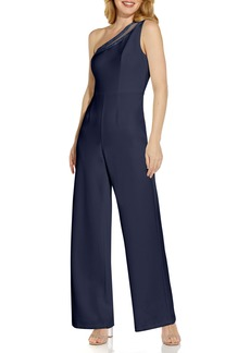 Adrianna Papell Beaded One-Shoulder Crepe Jumpsuit