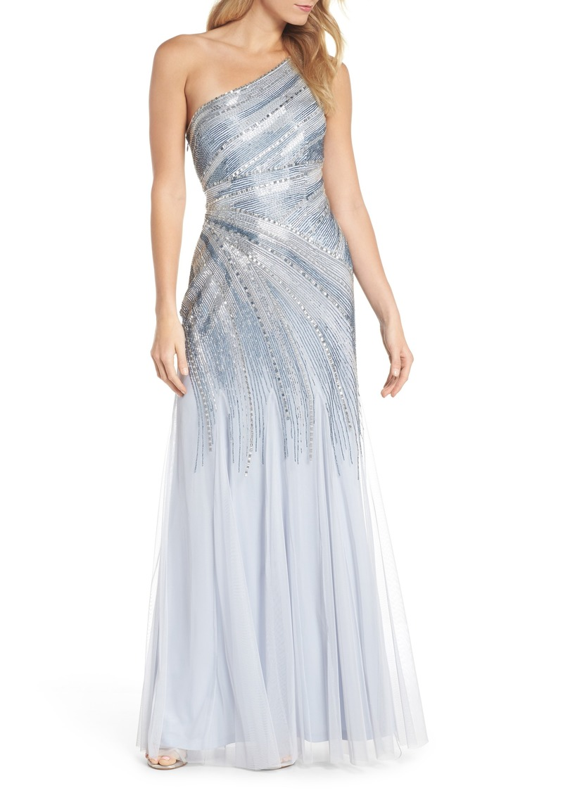 Adrianna Papell Adrianna Papell Beaded One-Shoulder Mermaid Gown ...