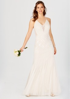 Adrianna Papell Beaded Open-Back Gown