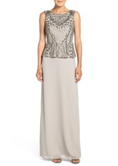 Adrianna Papell Beaded Peplum Gown