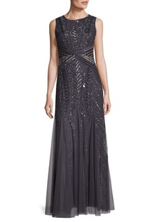 Adrianna Papell Beaded Sleeveless Floor-Length Gown