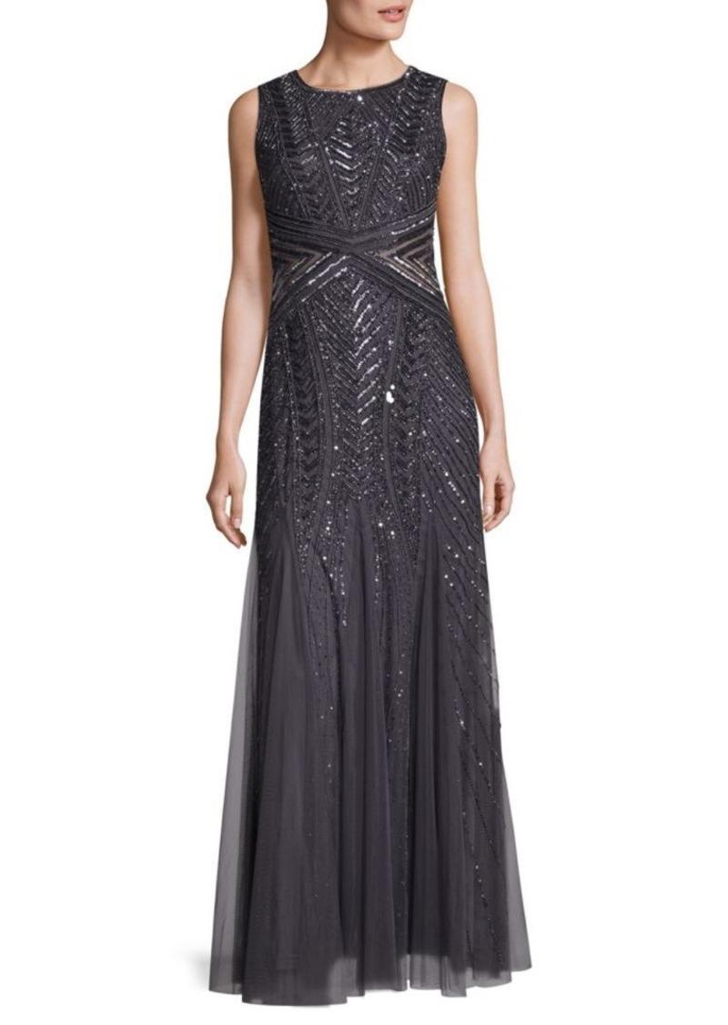 Adrianna Papell Beaded Sleeveless Floor-Length Gown