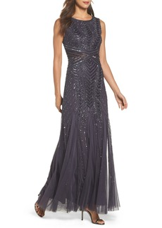 Adrianna Papell Beaded Sleeveless Gown (Regular & Petite)