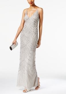 Adrianna Papell Beaded Spaghetti-Strap Column Gown