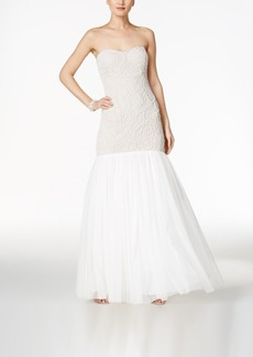 Adrianna Papell Beaded Strapless Mermaid Gown