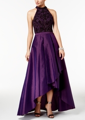 Adrianna Papell Beaded Taffeta High-Low Gown