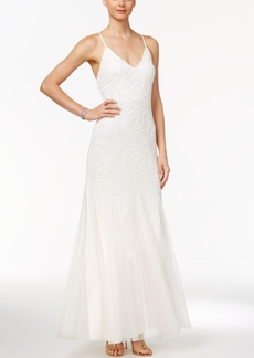 Adrianna Papell Beaded Tulle A-Line Gown
