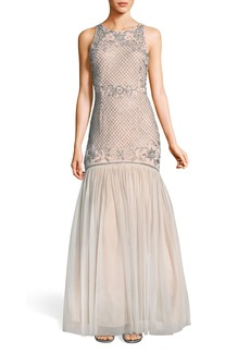 Adrianna Papell Beaded Tulle Trumpet Gown