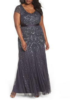 Adrianna Papell Beaded V-Neck Gown (Plus Size)