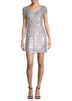 Adrianna Papell Beaded V-Neck Mini Dress