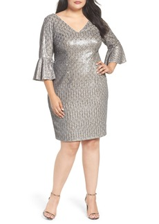 Adrianna Papell Bell Sleeve Sequin Sheath Dress (Plus Size)