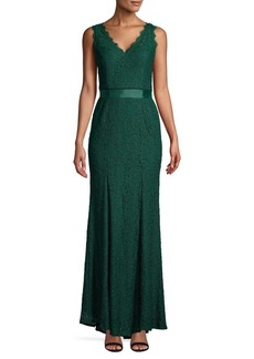 Adrianna Papell Belted Textured Gown