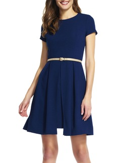 Adrianna Papell Belted Textured Crepe Fit & Flare Dress