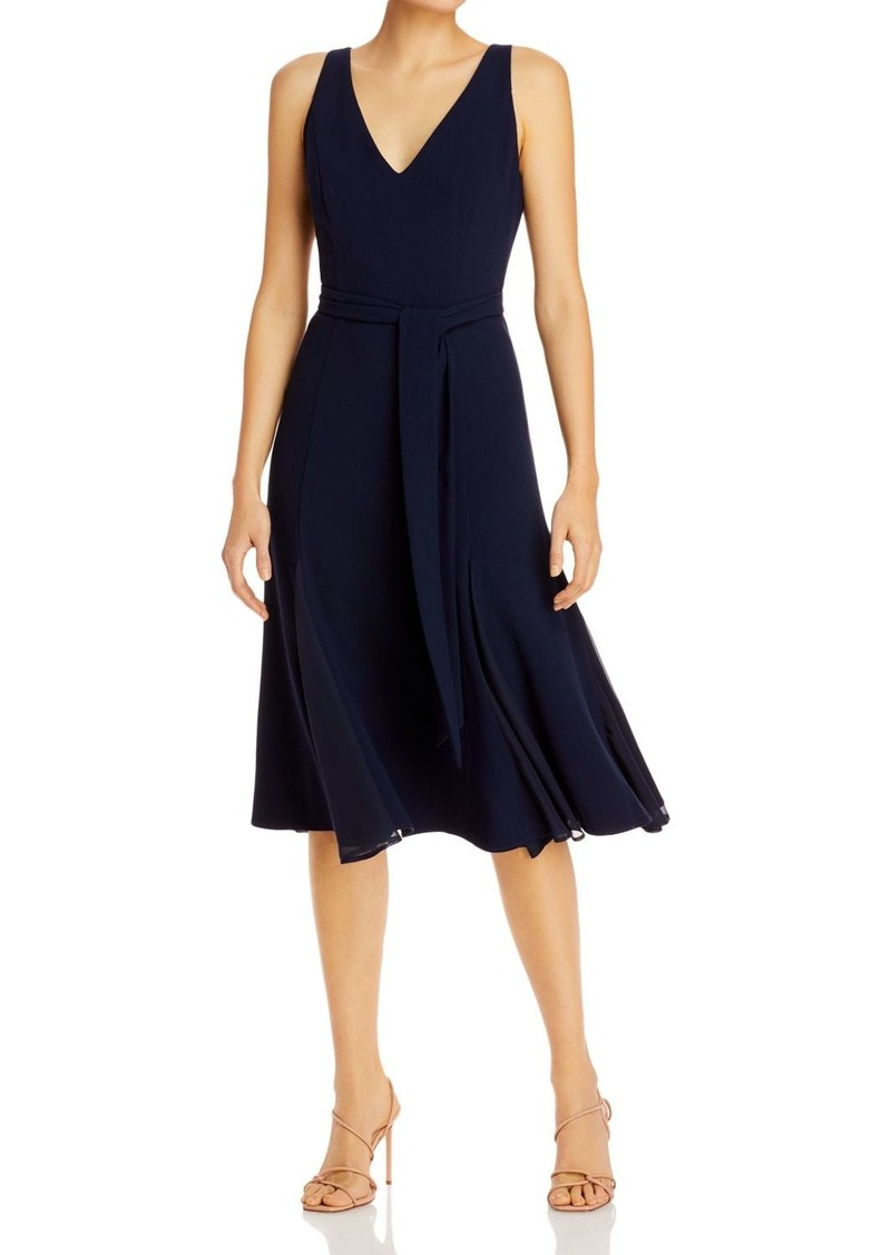 Adrianna Papell Belted V-Neck Dress