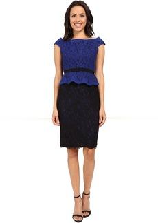 Adrianna Papell Bi-Color Lace Wrap Peplum Dress