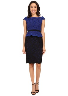 Adrianna Papell Bi-Color Lace Wrap Peplum Dress