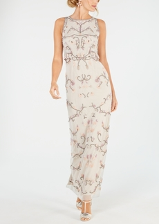 Adrianna Papell Blouson Beaded Gown